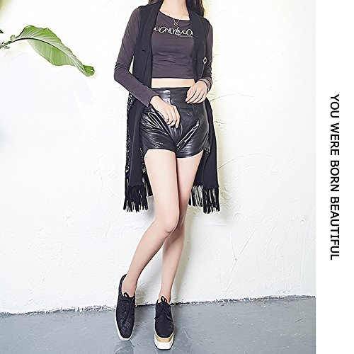 Pp Fashion Stunning Womens Elegante Formele Wiggen Platform Casual Sneakers Zwart