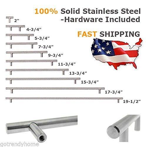 Cabinet Handles - Cabinet drawers wardrobes Doors Handles - 2 Inch - 10 Inch Solid Stainless Steel Euro T Bar Modern Kitchen Cabinet Pull Handles - Super Attractive for Home Office (4, 8 Inch)