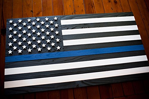 Thin Blue Line Wood Flag - Police Wood Flag - Law Enforcement Wood Flag - Blue Line Flag by Patriot Wood