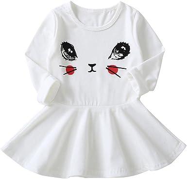 MAYOGO Vestido Niña 4 años Otoño Manga Larga Vestido Bebe Niña ...