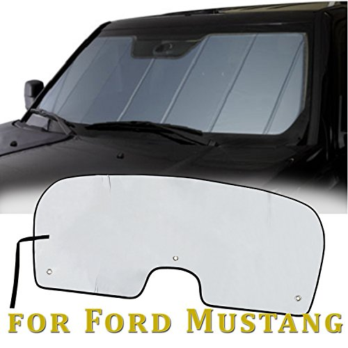 Sunshade for Ford Mustang Coupe or Convertible 2015 2016 2017 2018 Heatshield Windshield Custom-fit Sun shade (Silver) - Ford Mustang Convertible Sun Visors