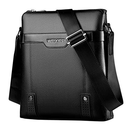 - ONLY TOP Men Leather Shoulder Bag Crossbody Bag Business Cowhide Messenger Purse Cross Body Bags for Men Black