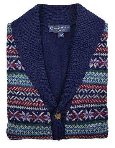(Brooks Brothers Men's Fair Isle Knit Merino Wool Ribbed Cardigan Sweater Navy Blue (Medium))