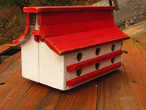 - RED, GREEN, BLUE, BLACK Birdhouse, distressed farmhouse style birdhouse, french country HANDMADE IN TEXAS Cedarwood