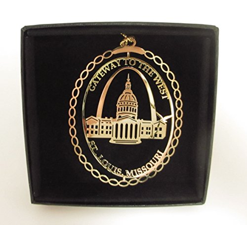 St. Louis Brass Christmas Ornament Black Leatherette Gift Box