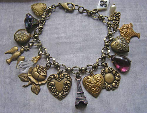 Heart Eiffel Tower Locket Paris Fleur de Lis Charm Bracelet ()