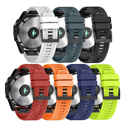 ANCOOL Compatible with Fenix 5 Band Easy Fit 22mm Width Soft Silicone Watch Strap Replacement Fenix 5/Fenix 5 Plus/Forerunner 935/Approach S60/Quatix 5 - Pack of 7