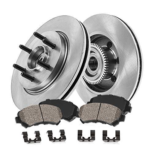 ([ RWD ] FRONT 329.95 mm Premium OE 6 Lug [2] Brake Disc Rotors + [4] Ceramic Brake Pads + Hardware)