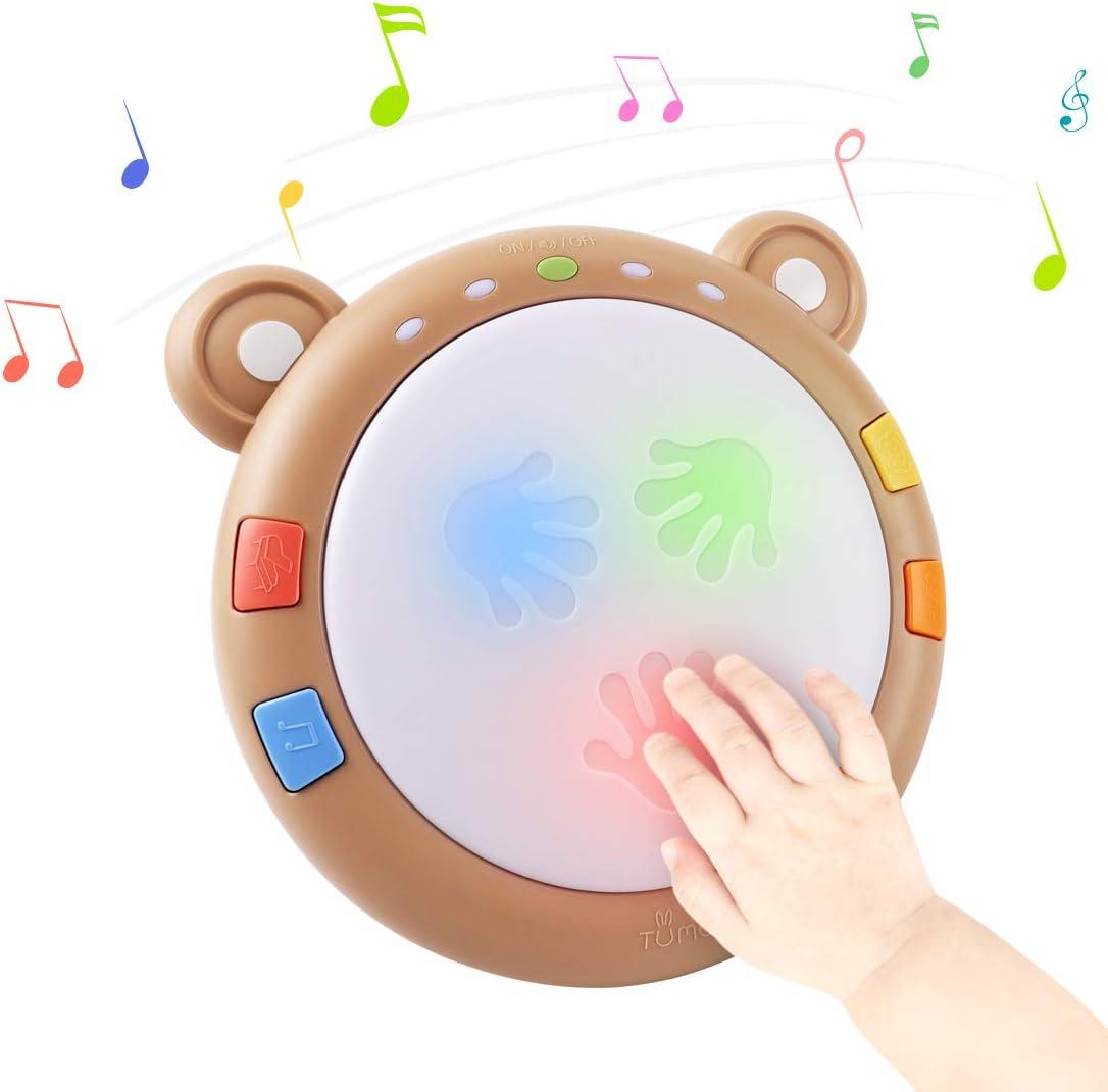 Tumama Juguetes electrónicos Musicales para bebés,Tambores iluminados para bebés Instrumentos Musicales para bebés Juguetes sensoriales para bebés Juguetes Musicales Regalo para bebés,niños pequeños