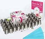 (US) Russian Piping Tips - Cake Decorating Supplies - 63 Baking Supplies Set - 38 Icing Nozzles + 21 Pastry Bags (One Silicone) + Coupler + Cleaning Brush + Gift Box + PDF User Guide - Best Kitchen Gift
