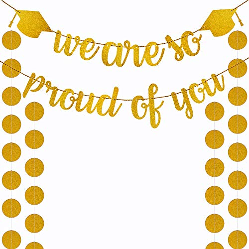 Supla Grad Banners Gold Graduation Banner Glitter Grad Banner Garlands Gold Glittery We are So Proud of You Banner and Gold Glitter Paper Circle Dots Garlands for Graduation Party Backdrop Decorations