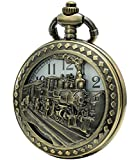 SEWOR Retro Quartz Pocket Watch White Dial Bronze Case Smooth With Two Type Style (Steam train)