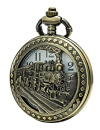 SEWOR Retro Hollowed Quartz Pocket Watch White Dial Bronze Case Smooth Necklace With Two Type Chain (Steam train)