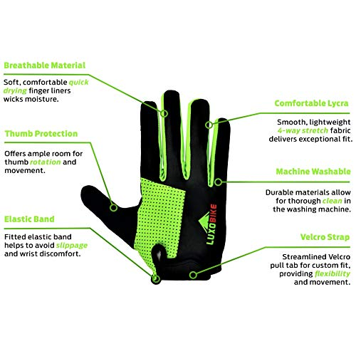 Road Mountain Bike Cycling Full Finger Gloves MTB BMX Bicycle Riding Touchscreen