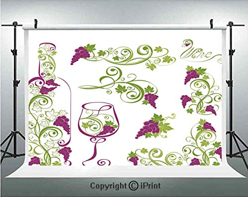 Wine Photography Backdrops Wine Bottle and Glass Grapevines Lettering with Swirled Branches Lines Decorative,Birthday Party Background Customized Microfiber Photo Studio Props,8x8ft,Purple Lime Green