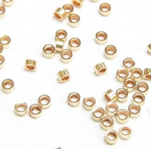 50 pcs 14k Gold Filled 2mm x 1mm Tube Crimp Beads Spacer / Findings / Yellow Gold