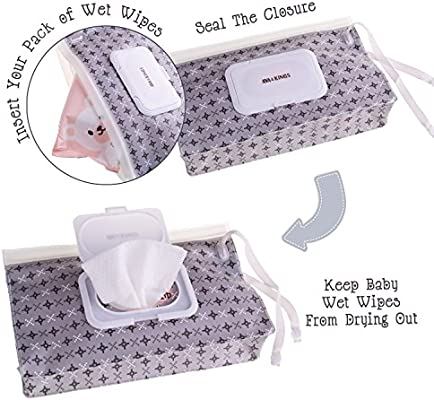 Ava & Kings 4pc Baby Wipes Travel Carrying Case Holder Dispenser Refillable Moist Diaper Wet Wipe Clutch w/Button Strap Unisex Variety Pack |New & ...