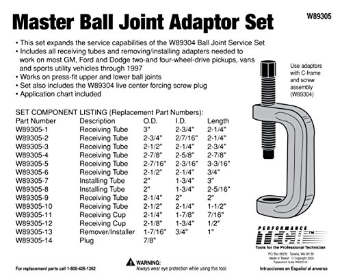 Performance Tool W89305 Master Ball Joint Adapter Set by Performance Tool (Image #2)
