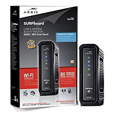 ARRIS SURFboard SBG6580 DOCSIS 3.0 Cable Modem/ Wi-Fi N600 (N300 2.4Ghz + N300 5GHz)  Dual Band Router - Retail Packaging Black (570763-034-00 )