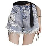 Europe New Rhinestone Beaded Flowers Embroidery Lace Denim Shorts Women Casual Shorts Jeans High Waist Street Wear,Blue Denim Shorts,M
