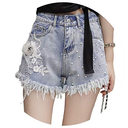 Europe New Rhinestone Beaded Flowers Embroidery Lace Denim Shorts Women Casual Shorts Jeans High Waist Street Wear,Blue Denim Shorts,M by LOKOUO Shorts