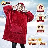 Comfybear Blanket Sweatshirt for Adults & Children, Dark Red