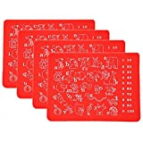 Lesirit Waterproof Non-slip Cute Animal Alphabet Practice Kids Placemat Washable Table Mat Pack of 4 (Red)