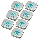 Zeta Tau Alpha Sugar-Free Peppermint Breath Mints with Decorative Tin (7-Pack of small 18.43 g tins). Great sorority gifts for Big Little Sister, Valentines, gift bags, stocking stuffers—by Worthy.