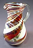 Hand Blown Glass Margarita or Juice Pitcher, Red White Swirl Design Pera 8 Cups