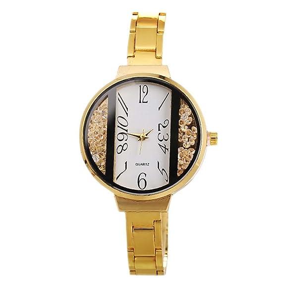 homim Mujer Reloj De Pulsera Dorado Color estrecho correa de acero inoxidable strass purpurina blanco redondo