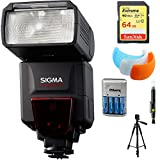 Sigma EF-610 DG ST Flash for Nikon DSLR Cameras (F19306) with 64GB Memory Card, DSLR Camera Flash Diffuser Soft Flash Cover, Travel Charger, 60'' Full Size Photo / Video Tripod & LCD/Lens Cleaning Pen