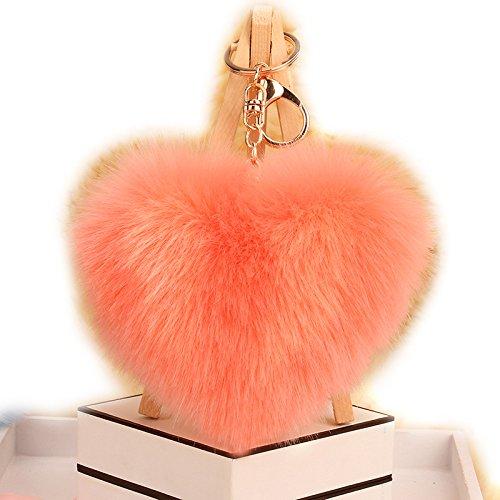 URSFUR Artificial Rabbit Fur Ball Keychain Pom Bag Charm Pendant Toy Tassel Key Chain Hook