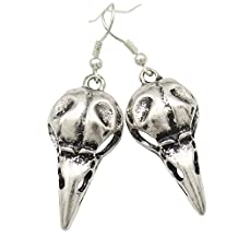 Q&Q Fashion Vintage Silver Plated Skull Bird Crow Raven Gothic Punk Emo Steampunk Dangle Earrings