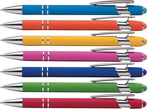 Comfortable Pen Ballpoint Retractable (Alpha Ellipse Soft Touch Ballpoint Pen with Stylus is a stylish, premium metal pen, black ink, medium point. Box of 7 (ASSORTMENT))