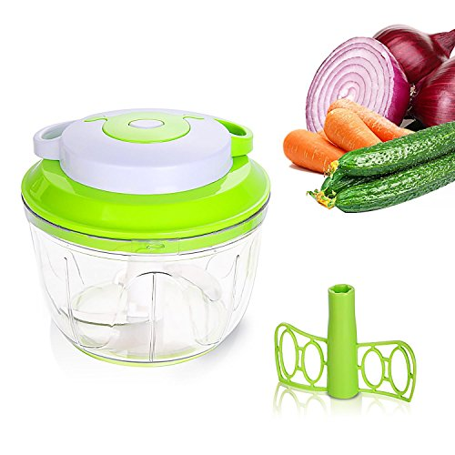 Umiwe Manual Food Chopper, Mini Hand Held Food Processor/Mixer/Blender with 3 Cutting Blades for Onions Garlics Vegetable(1000ml,Green)