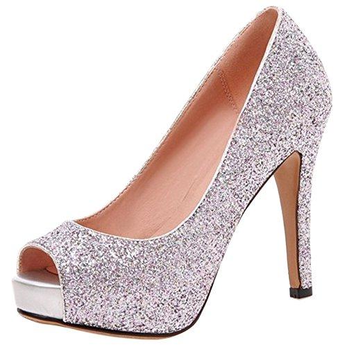 COOLCEPT Mode A Peep Chaussures Aiguille Rose Basse Enfiler Escarpins Femme Chaussures Talons Toe rnFxgrB