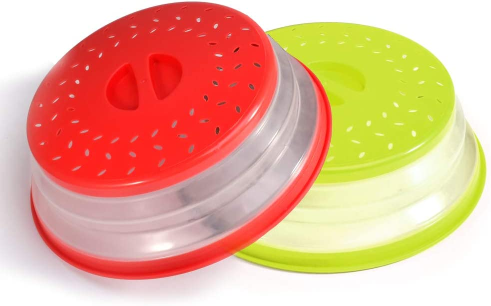 Bincoch [2 Pack]Microwave Splatter Cover Vented Collapsible Microwave Food Cover With Easy Grip Handle, Dishwasher-Safe, BPA-Free Silicone & Plastic,Fruit and vegetable drainer ,10.5