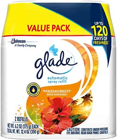 Glade Automatic Spray Refill Hawaiian Breeze, Fits in Holder For Up to 60 Days of Freshness, 6.2 oz, Pack of 2