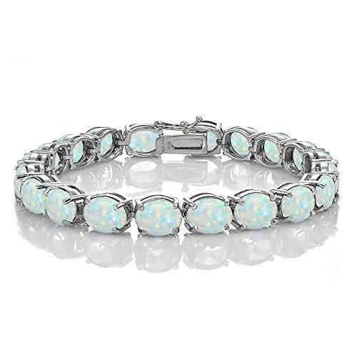 Bracelets Opal Oval (Ice Gems Sterling Silver Created White Opal 9x7mm Oval Tennis Bracelet)