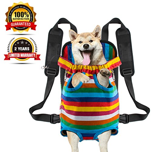 Legs tail out Dog Carrier Travel Pet Bag Backpack Front-facing Sturdy Comfortable Easy-Fit for Traveling Hiking Bike and Motorcycle(L)