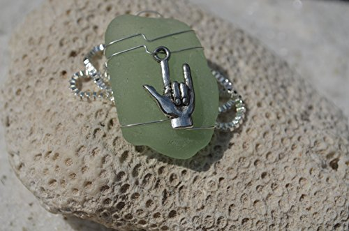 Custom Handmade Genuine Sea Glass Necklace with a Silver ASL I Love You Charm - Choose Your Color Sea Glass Frosted, Green, Brown, or Aqua