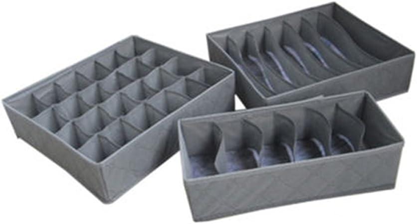organizador de cajones sujetadores y corbatas cajones de armario gris juego de 4 separador para calcetines Caja de almacenamiento para ropa interior caja plegable caja de tela para armario