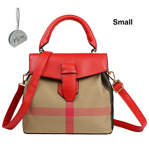 Micom Hit Color Grid Buckle Bucket Crossbody Purse Tote Bags...