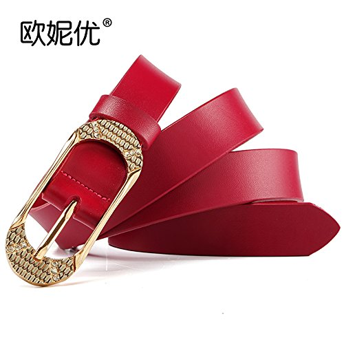 (ZHANGYONGSexy Leather Leather Belt Diamond pins Women tie-ups Casual Pants and Stylish Decorated with fine, Jeans Belt Girl in red)