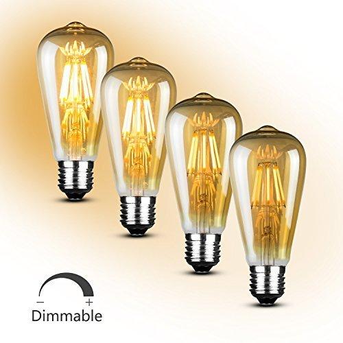 SooFoo Vintage Light Bulb 6w Edison Led Bulb Soft White 2700K,E27 Base Edison Bulb Dimmable-Pack of (E27 Led Bulb)