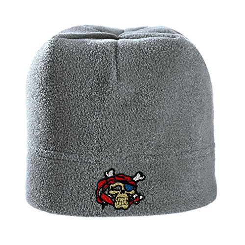 Skull With Crossbones Embroidery Design Stretch Fleece Beanie Light Grey (And Crossbones Skulls Fleece Grey)