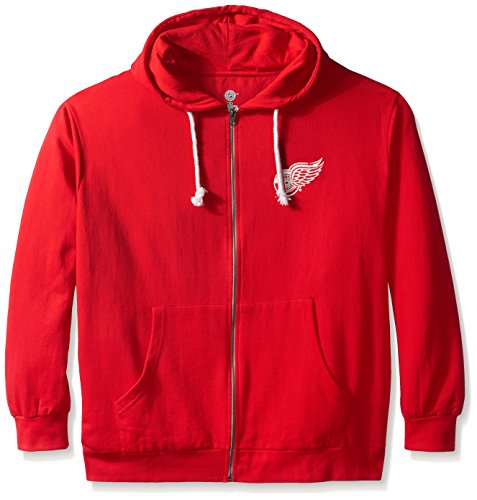 NHL Detroit Red Wings Women's Full Zip Fleece Logo Distressed Screen Print Hoodie, 2X, Red/White (Fleece Print Hoody)