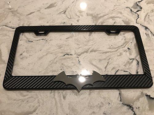 Batman Bat Chrome 3D symbol on Black Carbon Fiber Style Reverse Cut Decal Black Metal License Frame with matching color screw caps