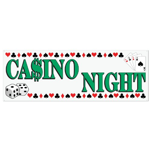 Casino Night Sign Banner Party Accessory (1 count) (1/Pkg)