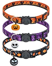 KOOLTAIL 3PACK Halloween Cat Collar with Adroable Bell Adjustable Cat Collar Safty Buckle Design Heavy Duty Cat Harness Halloween Style Pet Accessory